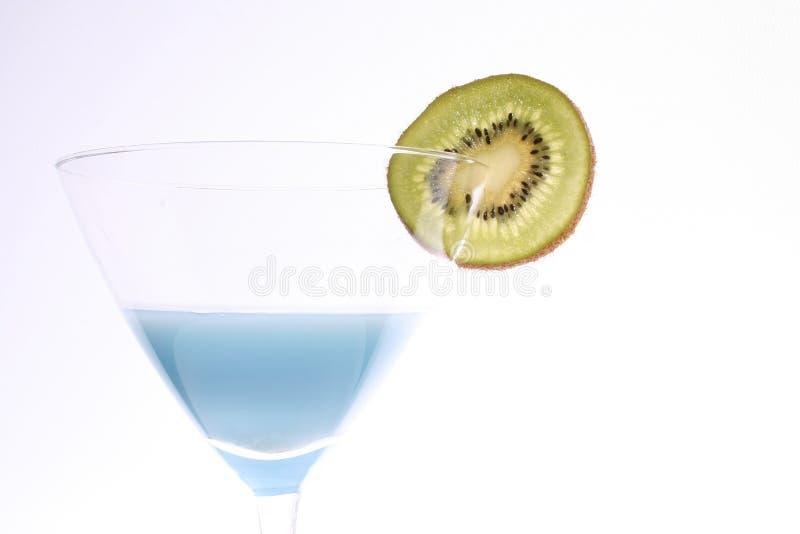 Blue martini with kiwi stock images