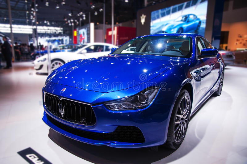 A Blue Maserati Car Editorial Photography