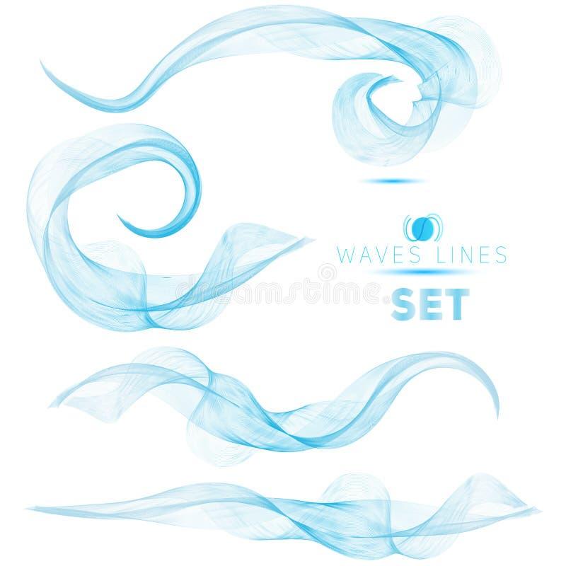 Blue massive blend waves abstract background for design premium. Set vector illustration