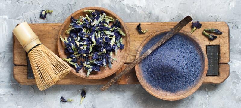 Blue matcha powder royalty free stock photography