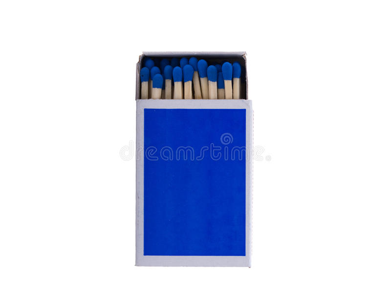 Blue matchbox with safety matches isolated on white background. Close up photo of a blue matchbox with safety matches, isolated in front of a white background royalty free stock photo