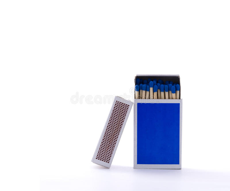 Blue matchbox with safety matches isolated on white background. Close up photo of a blue matchbox with safety matches, isolated in front of a white background royalty free stock image