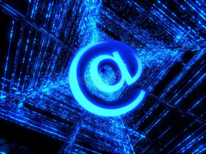 Blue matrix and internet sign stock image