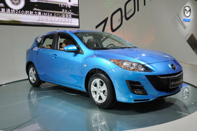 Download Blue mazda 3 editorial stock image. Image of center, engines - 17663814