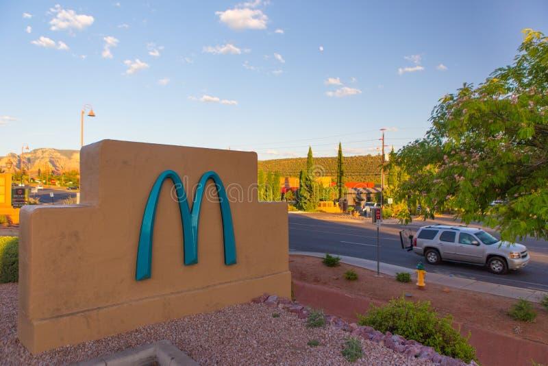 Blue mcdonald sign stock image