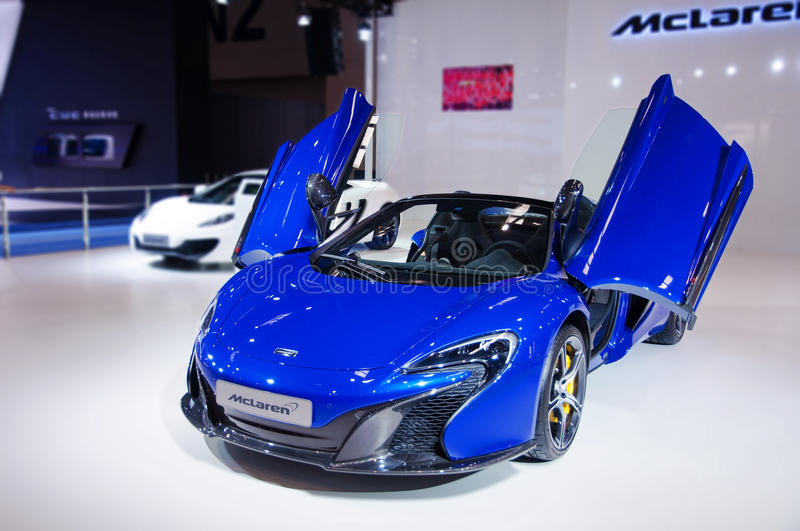 Download A blue Mclaren Roadster editorial image. Image of exhibition - 41412465