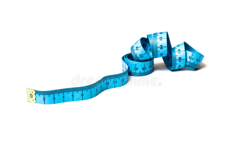 Blue measuring tape isolated royalty free stock photography
