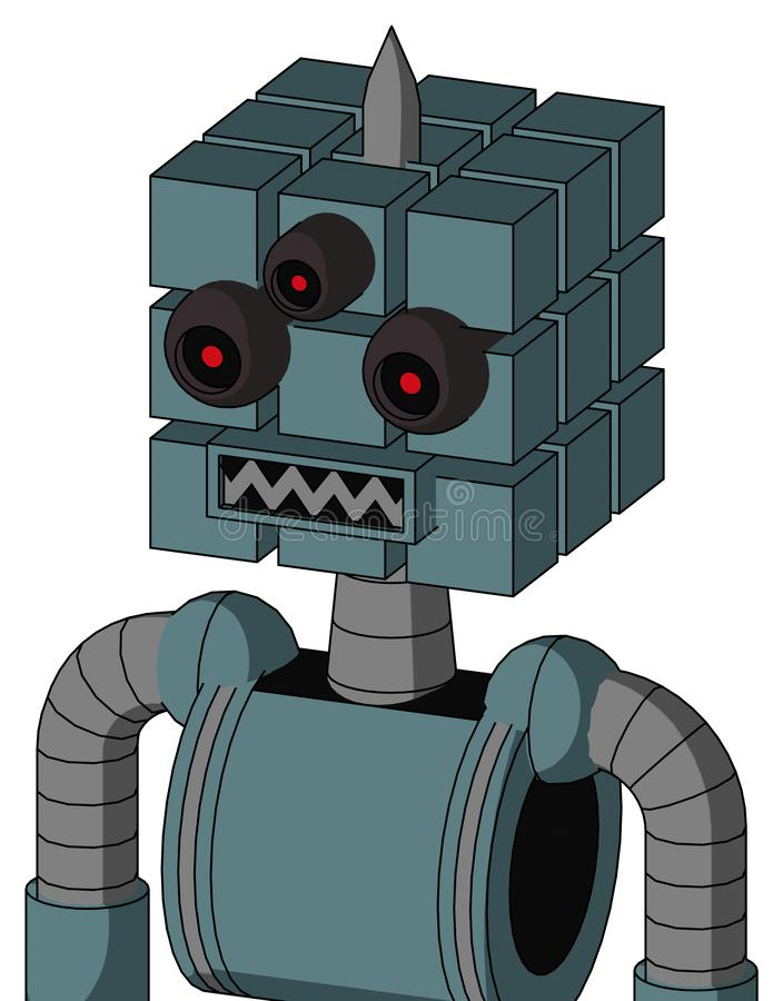 Blue Mech With Cube Head And Square Mouth And Three-Eyed And Spike Tip stock photo