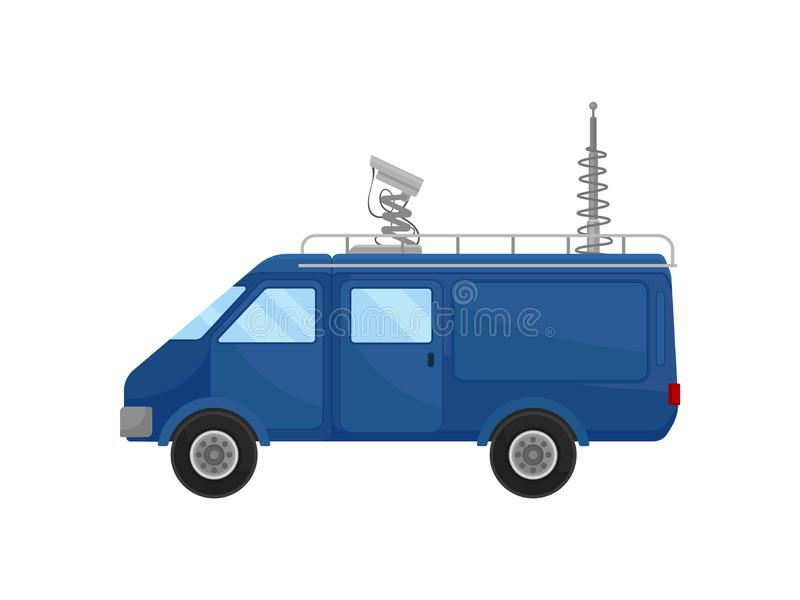 Blue media car, side view. Small van with satellite antennas on roof. Modern broadcasting vehicle. Flat vector design vector illustration