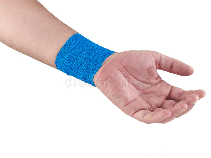 Blue Medical Wrap. Blue Coban Self-Adherent Bandage is a comfortable, lightweight bandage for sustained, reliable compression stock photography
