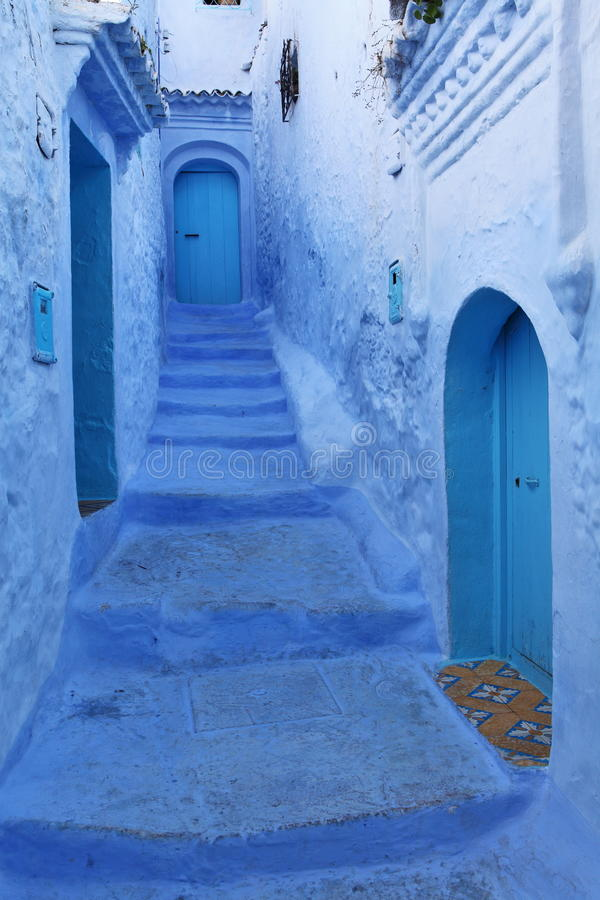 Download Blue medina of Chechaouen stock photo. Image of passage - 19087188