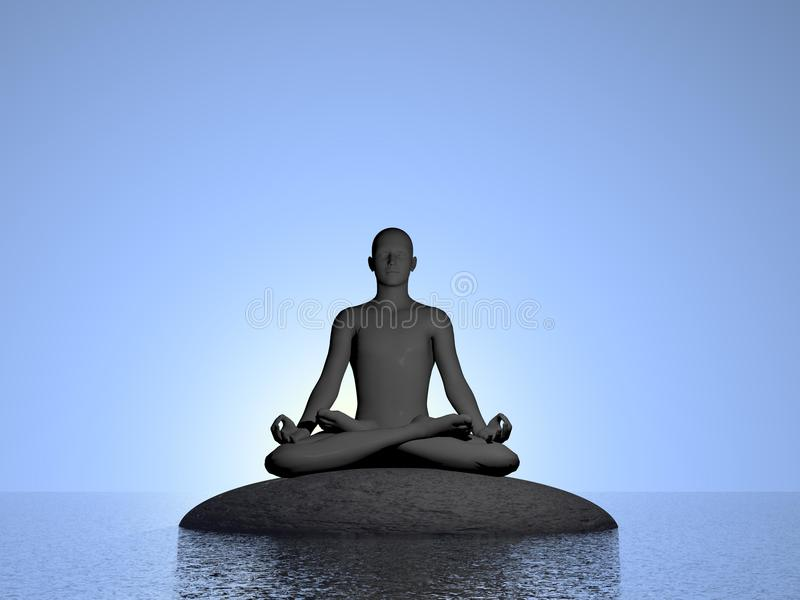Blue meditation - 3D render stock illustration