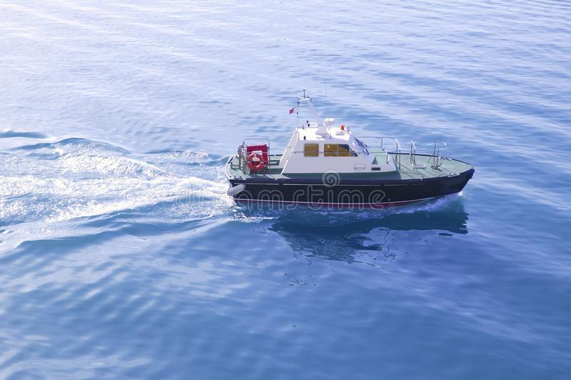 Download Blue Mediterranean Sea With Pilots Boat Stock Photo - Image: 12964468