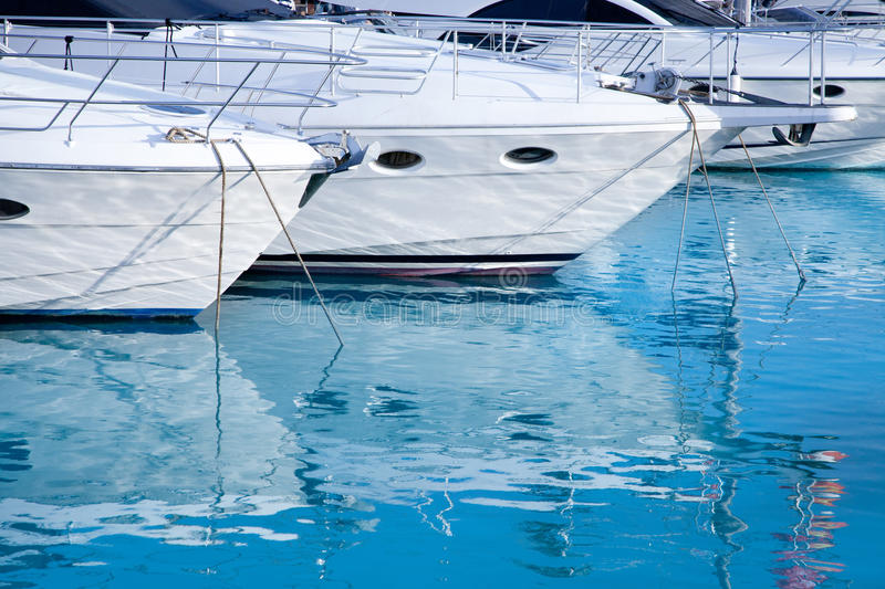 Blue mediterranean sea water in marina port. Of Spain royalty free stock images