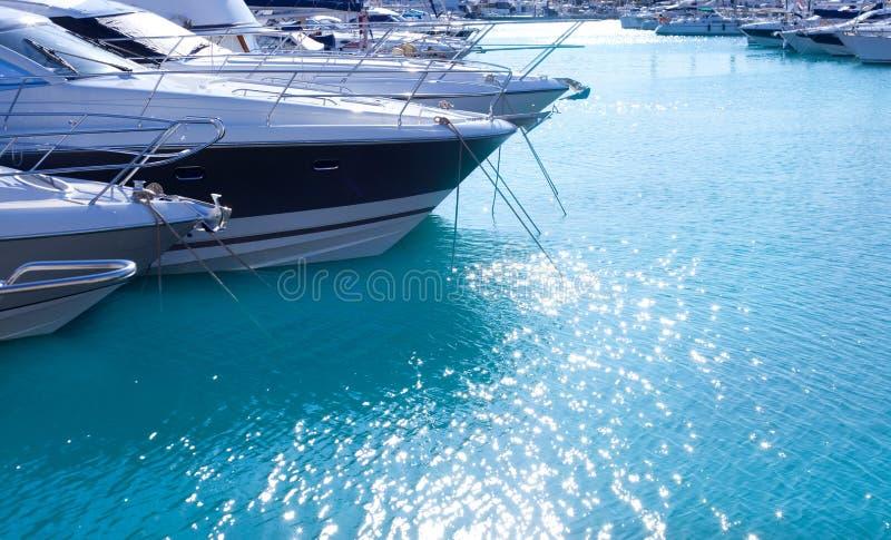 Blue mediterranean sea water in marina port. Of Spain stock photo