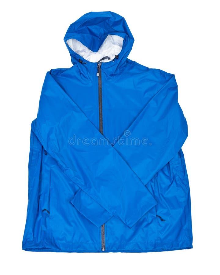 Blue men`s rain jacket royalty free stock photography