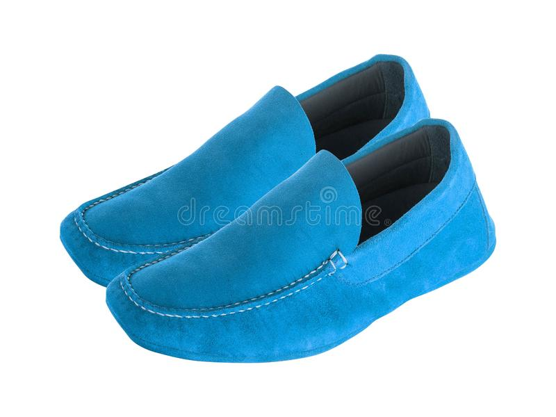 Blue mens suede leather loafers pair stock photography