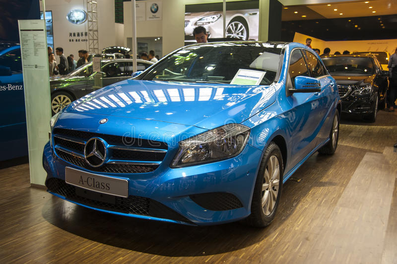 Blue mercedes-benz a-class car. New blue mercedes-benz a-class car in 2014 the 10th zhengzhou dahe spring international auto show.take from zhengzhou henan china stock photos