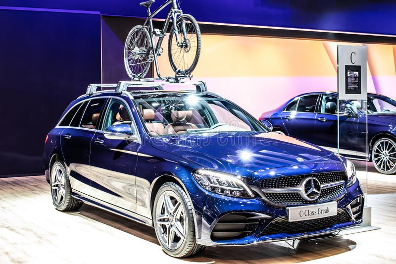 Blue Mercedes C-Class 220 D Break station wagon, Brussels Motor Show, 4th generation, W205 produced by Mercedes-Benz. Brussels, Belgium, Jan 2019: metallic blue royalty free stock photography