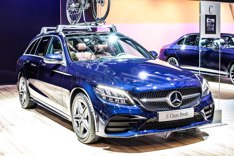 Blue Mercedes C-Class 220 D Break station wagon, Brussels Motor Show, 4th generation, W205 produced by Mercedes-Benz. Brussels, Belgium, Jan 2019: metallic blue royalty free stock images