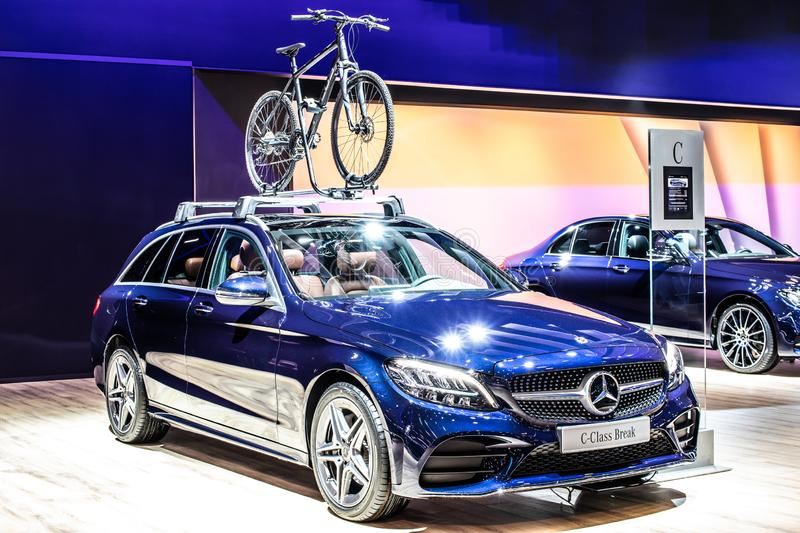 Blue Mercedes C-Class 220 D Break station wagon, Brussels Motor Show, 4th generation, W205 produced by Mercedes-Benz. Brussels, Belgium, Jan 2019: metallic blue stock images