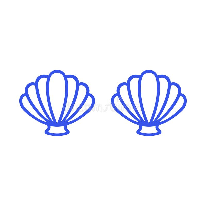 Blue mermaid bra. Outline mermaid top - t-shirt design. Scallop sea shell. Clam. Conch. Seashell - flat vector stock illustration