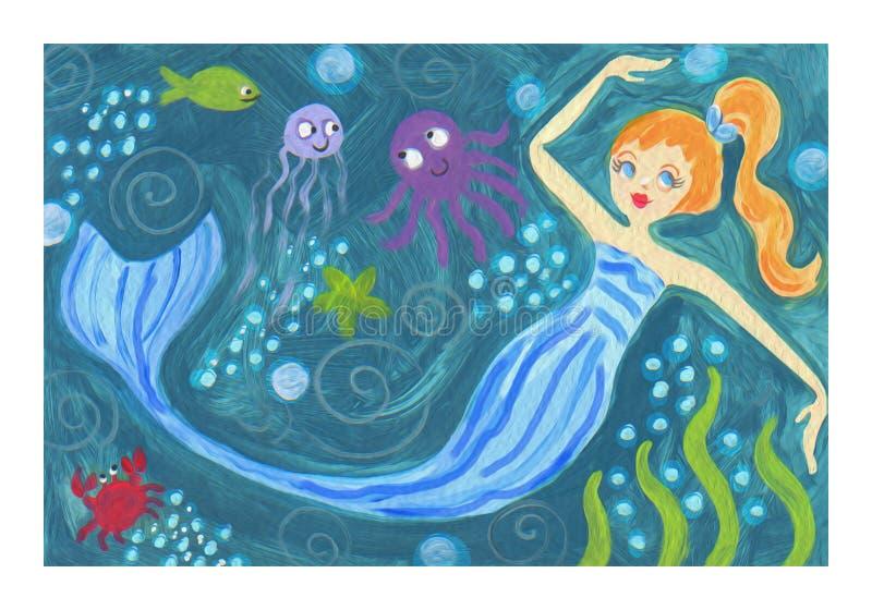 Blue Mermaid surfer riding waves mermaid fantasy ocean watercolor art. Cute Blonde Mermaid ocean scene with octopus starfish crab fish bubbles fun wave texture stock illustration