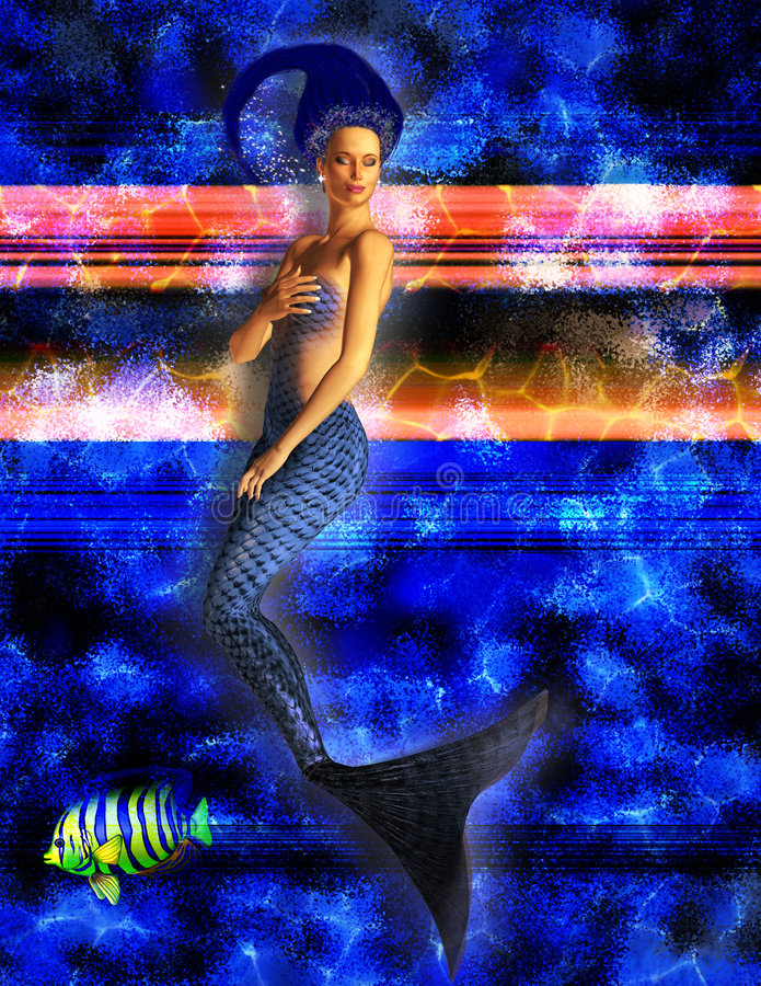 Download Blue Mermaid Swimming stock illustration. Image of girl - 2732444