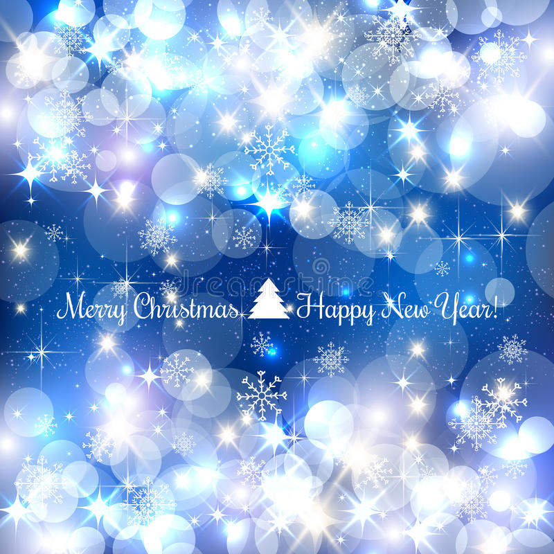 Blue Merry Christmas background with silver snowflakes, light, stars. Vector Illustration. Xmas vector illustration