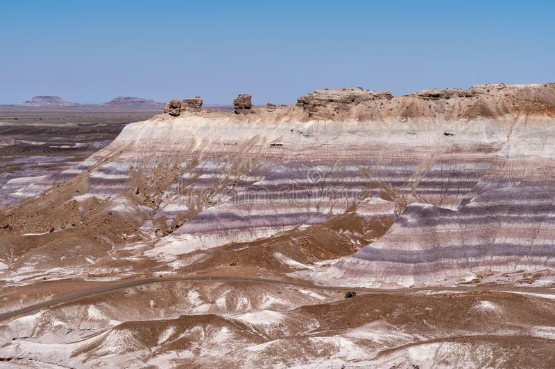 Blue Mesa trail in Arizona`s Petrified Forest National Park / Painted Desert on a sunny summer day, showing the rock`s beautiful stock photography
