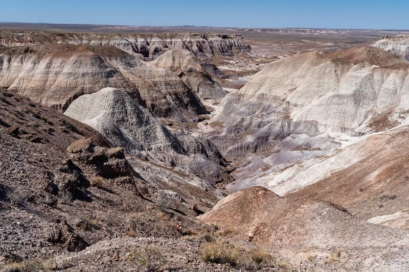 Blue Mesa trail in Arizona`s Petrified Forest National Park / Painted Desert on a sunny summer day, showing the rock`s beautiful royalty free stock photo