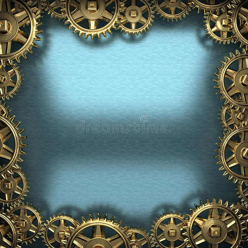 Blue metal background with cogwheel gears stock photography