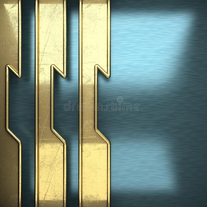 Blue metal background with yellow element royalty free stock photos