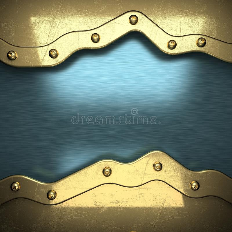 Blue metal background with yellow element stock photo