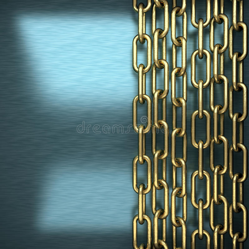 Blue metal background with yellow element royalty free stock photography