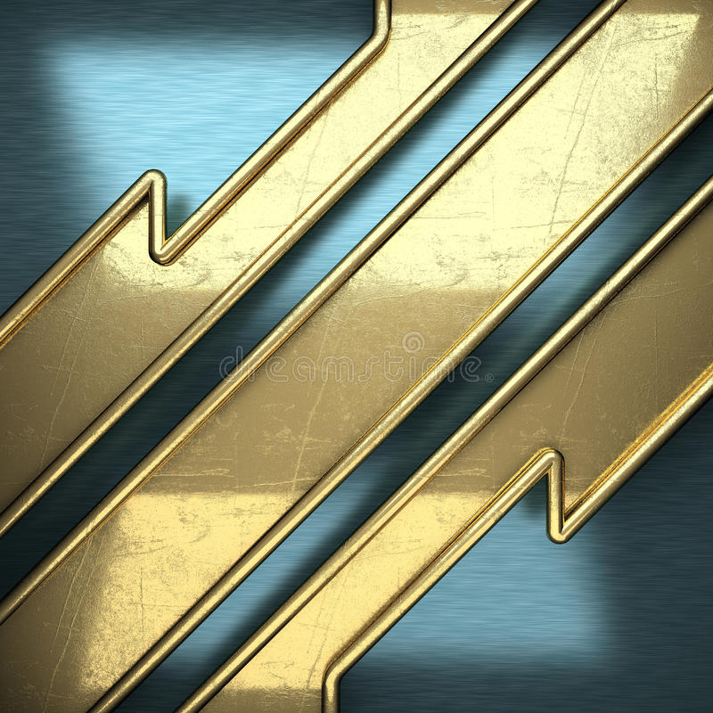 Blue metal background with yellow element stock image