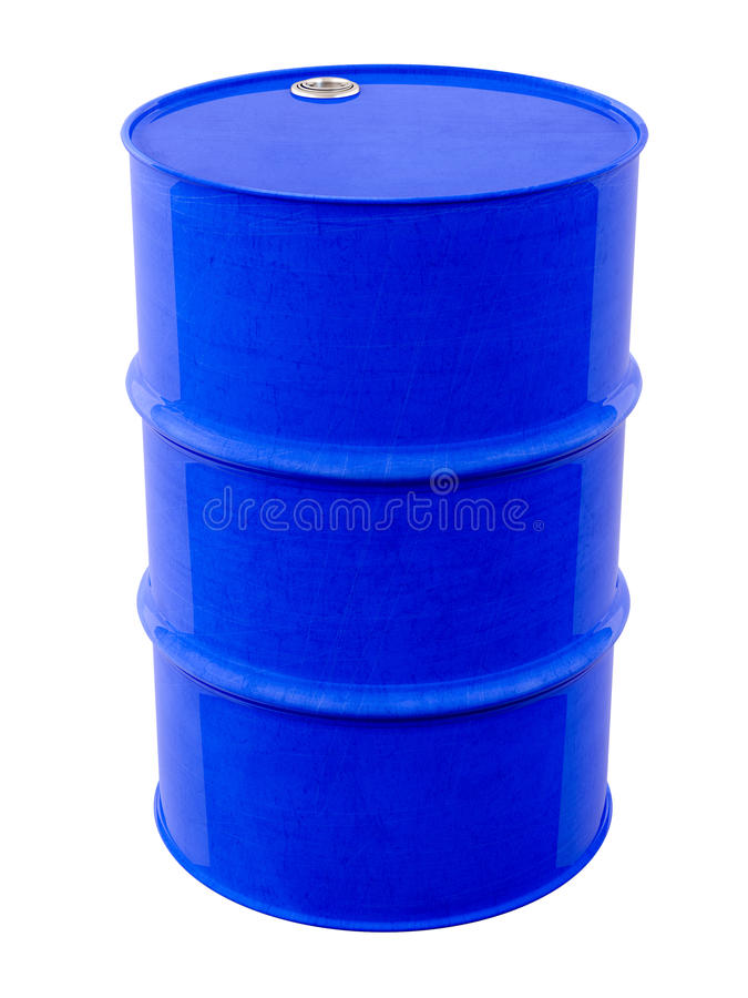 Blue metal barrel. The blue metal barrel on a light background royalty free stock photography