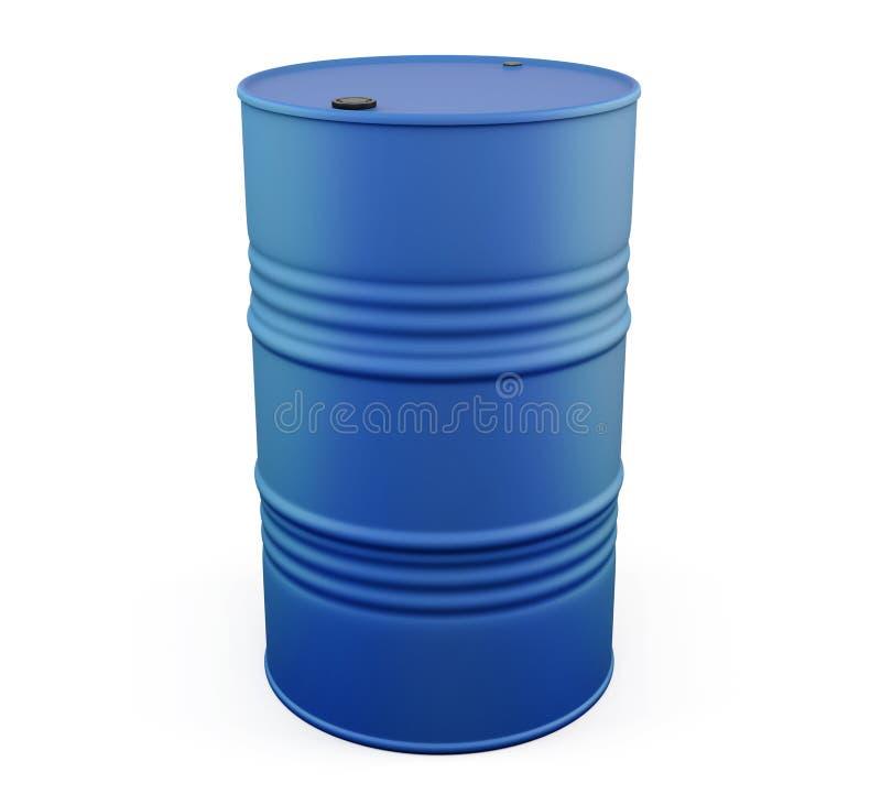 Blue metal barrel on a white. 3d. stock illustration