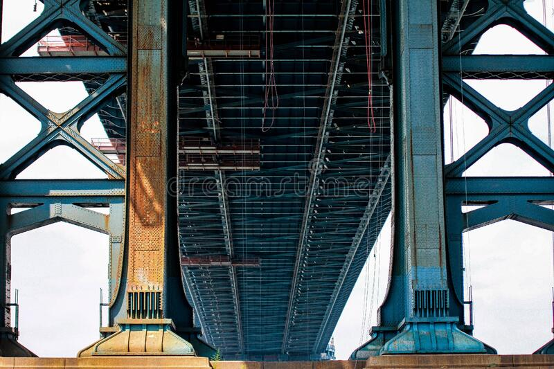 Download Blue Metal Bridge In Low Angle Photo At Daytime Stock Photo - Image of photo, steel: 83020138