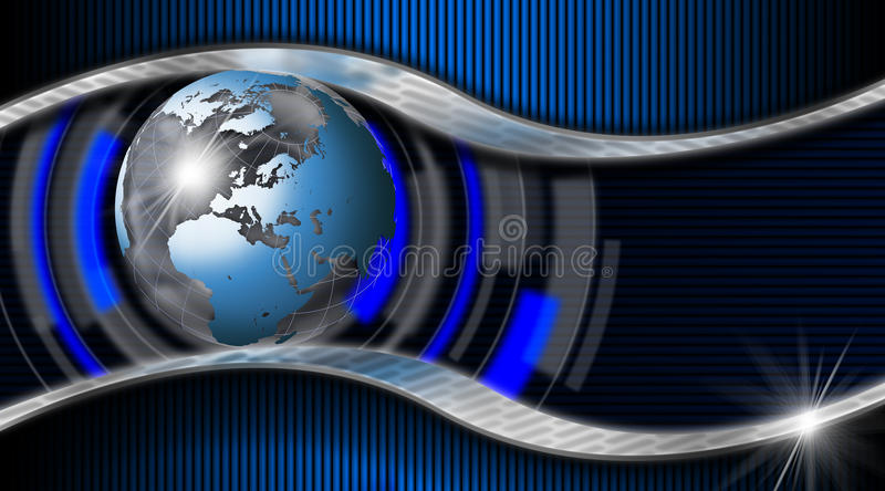 Blue and Metal Business Card. Blue and black corrugated abstract background with two metal waves and blue world globe stock illustration