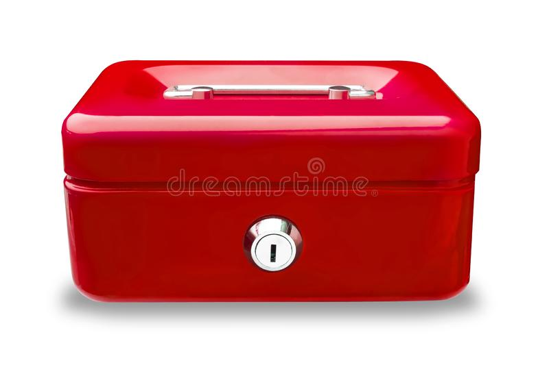 Blue metal cash box or  iron mini lock box with key  isolated on white background .clipping path included.  royalty free stock image