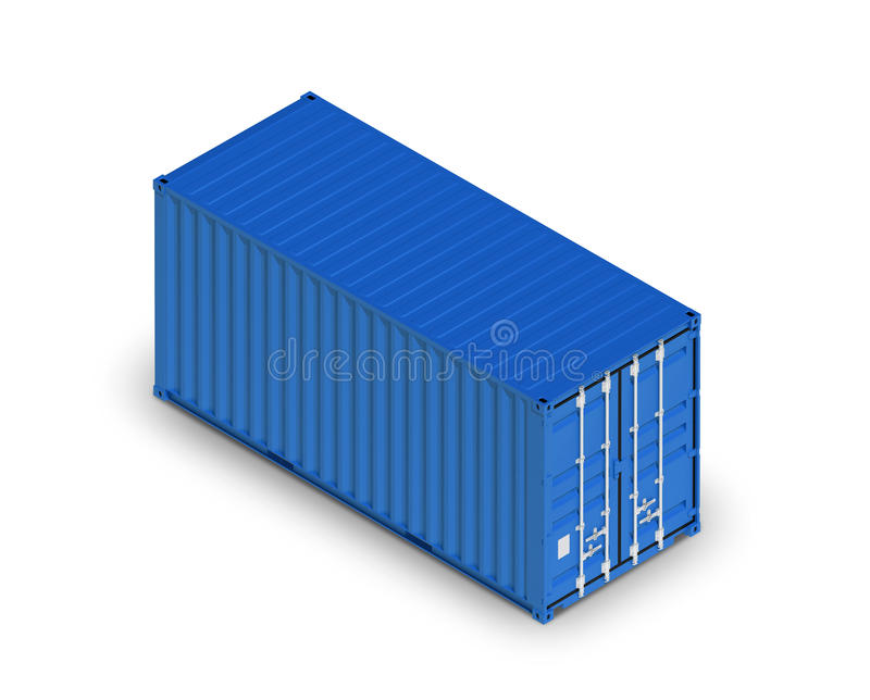 Blue metal freight shipping container isolated on white stock illustration