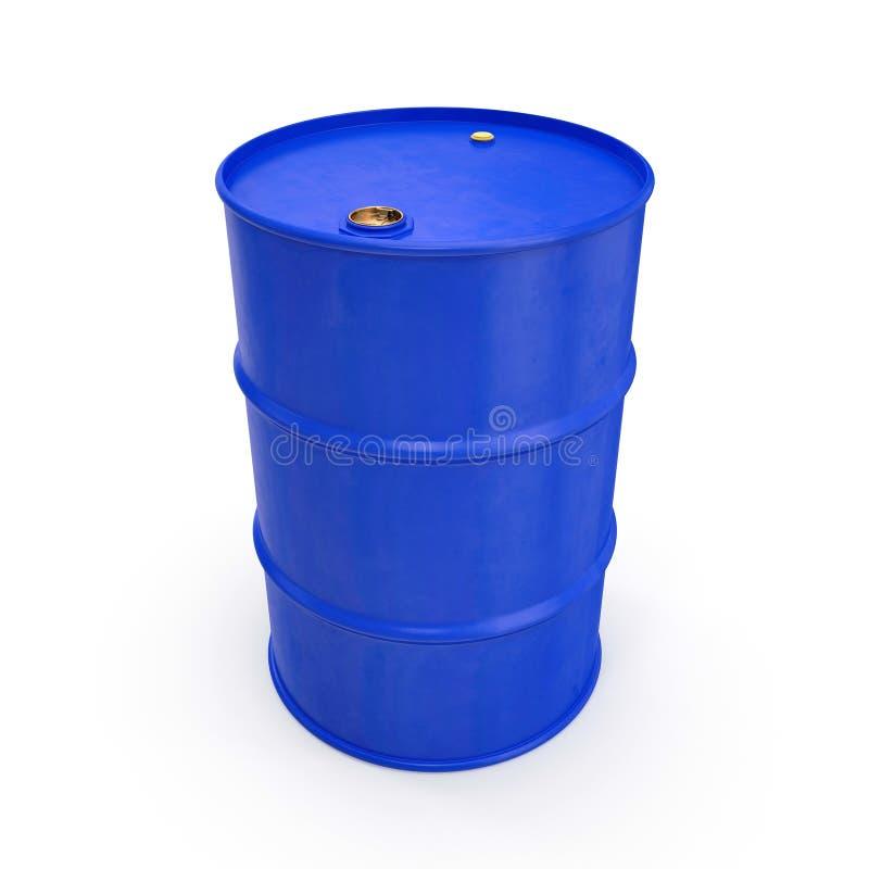 Blue Metal Oil Drum Isolated on White. 3D illustration stock illustration