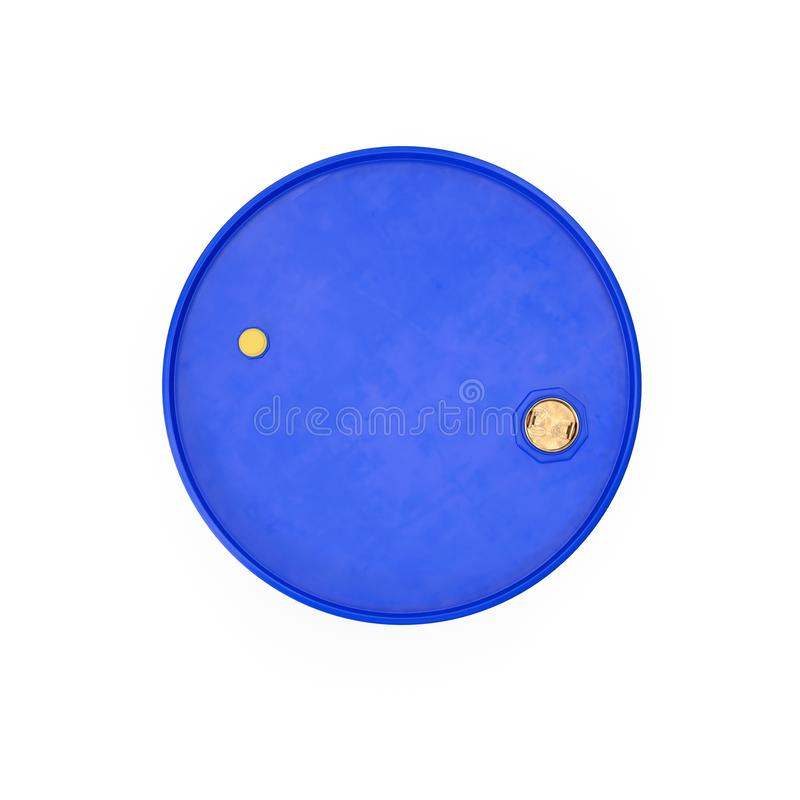Blue Metal Oil Drum Isolated on White. Top view. 3D illustration stock illustration