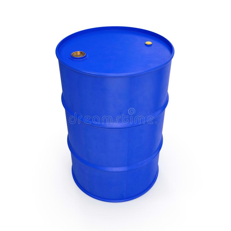 Blue Metal Oil Drum Isolated on White. 3D illustration royalty free illustration