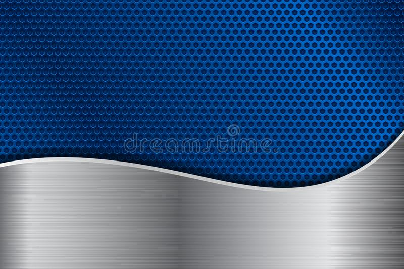 Blue metal perforated background with stainless steel wave vector illustration