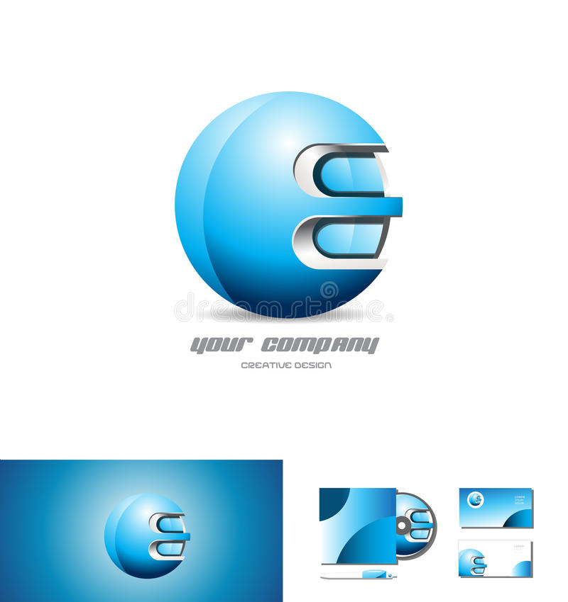 Blue metal sphere 3d logo design stock illustration