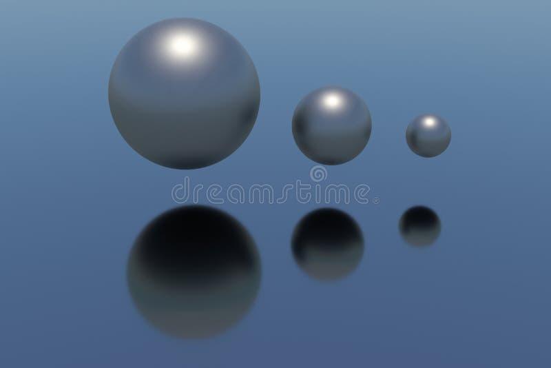 Blue metal spheres - 3d model royalty free illustration