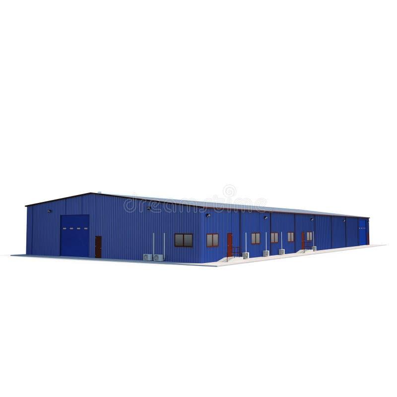 Blue metal Warehouse Building on white. 3D illustration vector illustration