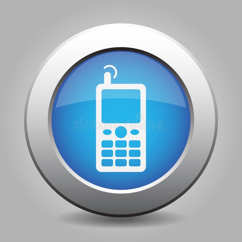 Download Blue Metallic Button, Old Mobile With Antenna Icon Stock Vector - Illustration of grey, display: 81917390